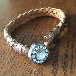 Jewelry - Gold Leather Bracelet with Silver Charm